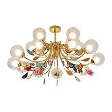 G9 akik avizeler cam küre abajur asılı lambalar parlaklık aydınlatma oturma odası kolye avize ışıkları