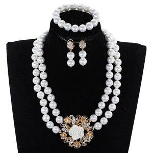 Image 4 - Echte Korallen Halskette Schmuck Set für Bräute Nigerian Afrikanischen Hochzeit Korallen Perlen Schmuck Set Gold Dubai Party Perlen CNR319