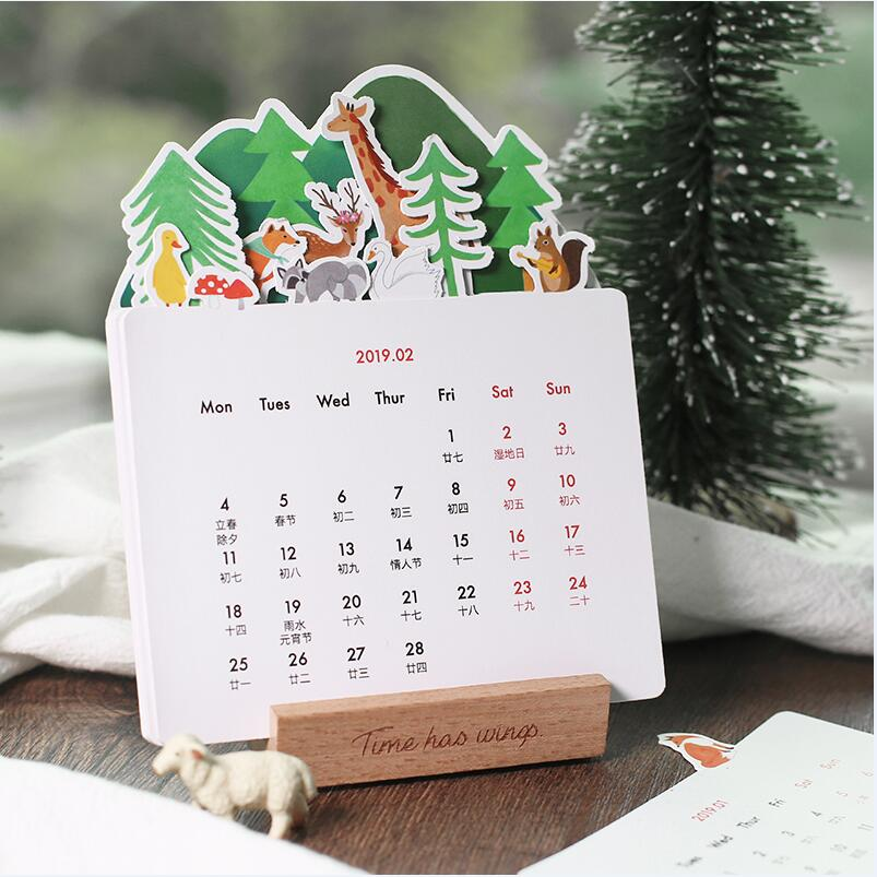 calendar 2018 2019 mini korean stationery decorative stickers label calendar sticker organizer cute office supplies
