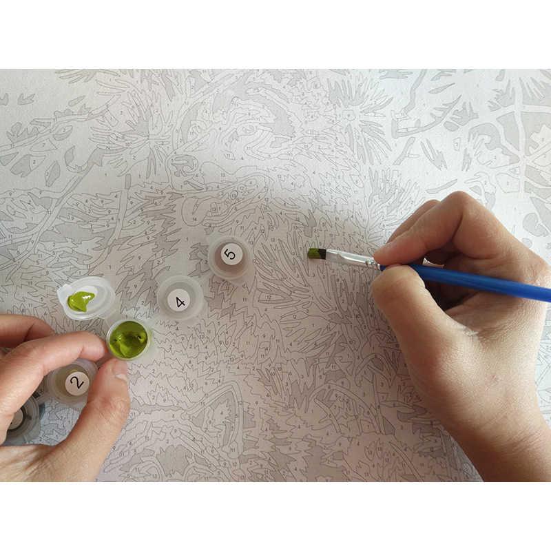 Frameless River ภูมิทัศน์ DIY โดยชุดตัวเลขมือทาสีน้ำมันจิตรกรรมที่ไม่ซ้ำกันของขวัญสำหรับตกแต่งห้องนั่งเล่น