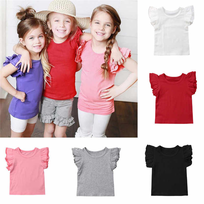 PUDCOCO Newest Summer Kids Baby Girl Short Sleeve T-Shirt Cotton Ruffle Tee Tops Fashion Kids Girls Sunsuit 0-4T