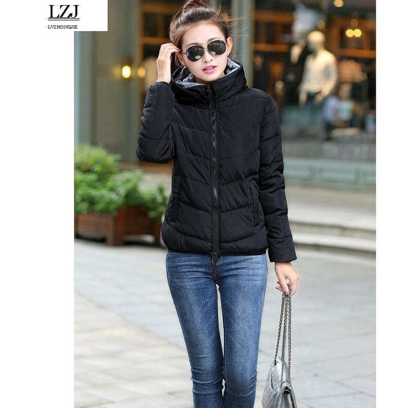 LZJ 2017 Women Basic Down Top Jacket Plus Size Female Coat Slim Autumn Winter   Parkas   Collar Outerwear Long Sleeve Casual Jackets