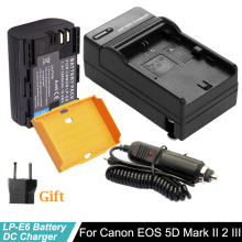 LP-E6 2650mAh 7.4V Digital Camera Battery + LP E6 Charger For Canon EOS 5D Mark II 2 III 3 6D 7D 60D 60Da 70D 80D DSLR EOS 5DS free ship track vertical battery grip for canon eos 5d mark iii 3 5diii 5d3 slr camera ir remote 2 x lp e6 replace of bg e11
