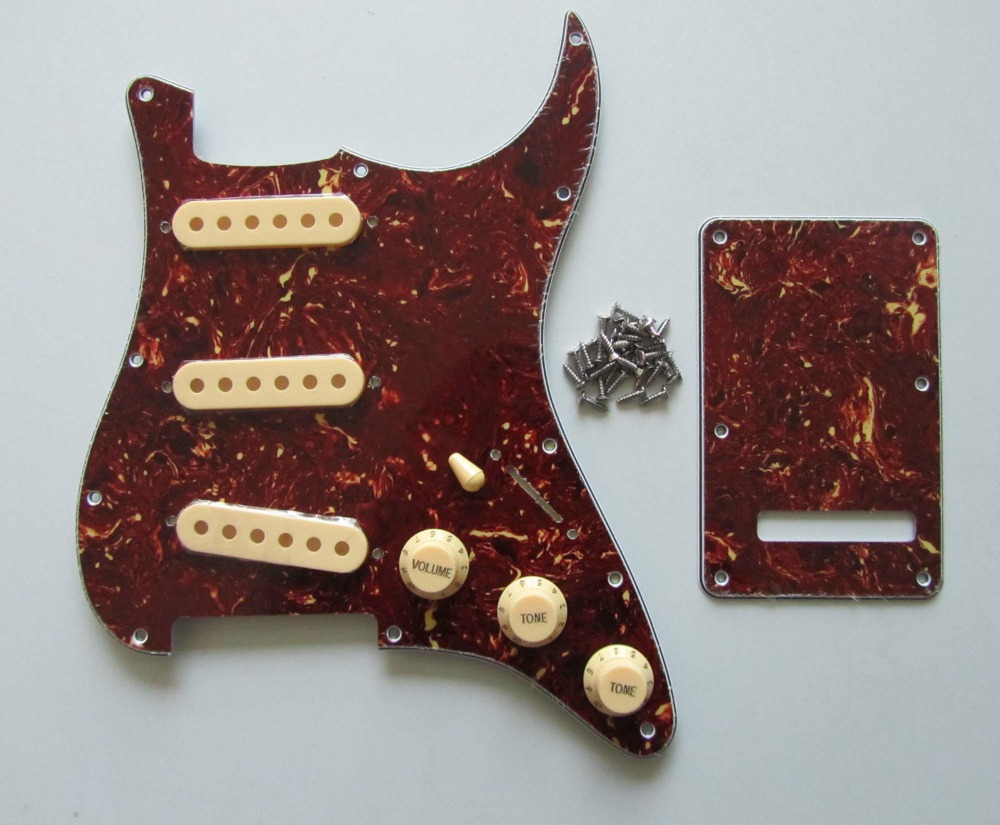 KAISH Vintage Tortoise Strat Pickguard Trem Cover w/ Cream Pickup Covers Knobs SwitchTip kaish 2x neck