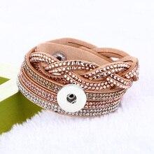 Фотография Wholesale Binb031 Imitation diamond Korean velvet Bracelet Snap Button Jewelry Charm Bracelet fit 18mm buttons