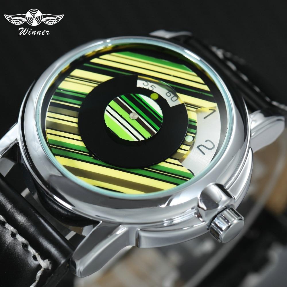 WINNER Fashion Casual Auto Mechanische Uhr Männer Leder Strap Grün Streifen Dreh Zifferblatt Top Marke Luxus Handgelenk Uhren