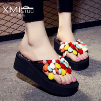 Student Casual Wild Handmade Beaded Hand Sewn Sandals Slippers With Thick Soles Muffin Beach Shoes Slippers