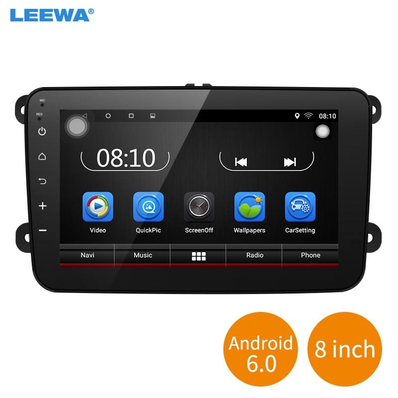 LEEWA 8inch Ultra Slim Android 6.0 Quad Core Car Media Player With GPS Navi Radio For VW Golf 5/6/Polo/Passat/Jetta/Tiguan/Tour feeldo 8inch ultra slim android 6 0 quad core car media player with gps navi radio for vw tiguan golf 5 polo passat jetta touran