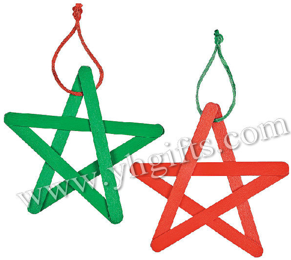 100PCS/LOT.Colorful wood star pops craft,Christmas tree hanger,X'mas crafts.DIY toys,Building games.Cheap.Promotion.Easy.11.4cm