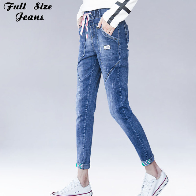 c1bf6806bf5 Plus Size Elastic Waist Rolled Cuffs Ankle Length Jeans 4Xl 5Xl Women  Summer Patchworked Loose Capris Denim Pants