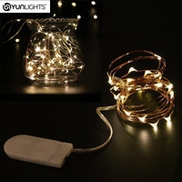 YUNLIGHTS 16pcs 2M 20 Lamp Copper String Lights Waterproof Battery Operated on 6.56 Ft Long String Copper Wire Light Decoration