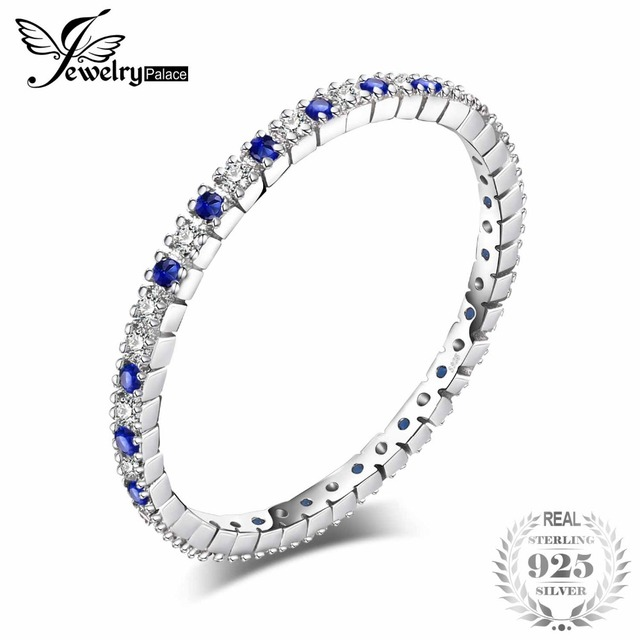 JewelryPalace Exquisite Round Created Blue Spinel Wedding Band Ring 100% 925 Ste