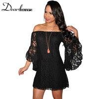 XXL בתוספת גודל סתיו שמלת Vestido דה רנדה Curto קרם/שחור תחרה כבויה כתף פורמליות מיני שמלות מזדמנים נשים LC2809
