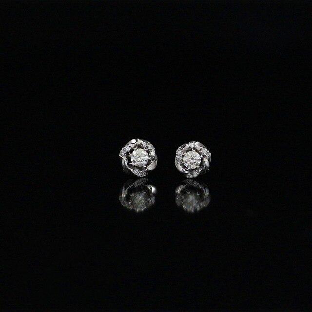 34cdb66e74f90a LASAMERO 0.154CT Round Cut Natural Diamond Cluster Earrings 18K White Gold  Diamond Halo Stud Earrings