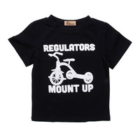 Toddler Kid Baby Boys Girls Casual Printing Short Sleeve Letter T-shirt Tops Cotton Summer Clothes 2-6Y