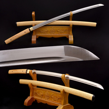 Hand Folding Katana Samurai Japanese Sword Sharp Folded Damascus Steel Full Tang Blade Wooden Saya Japan