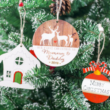 цена на Christmas Wooden Hanging Christmas Tree Decor Round Color Deer Hanging Ornaments Home Garden Festive Party Supplies
