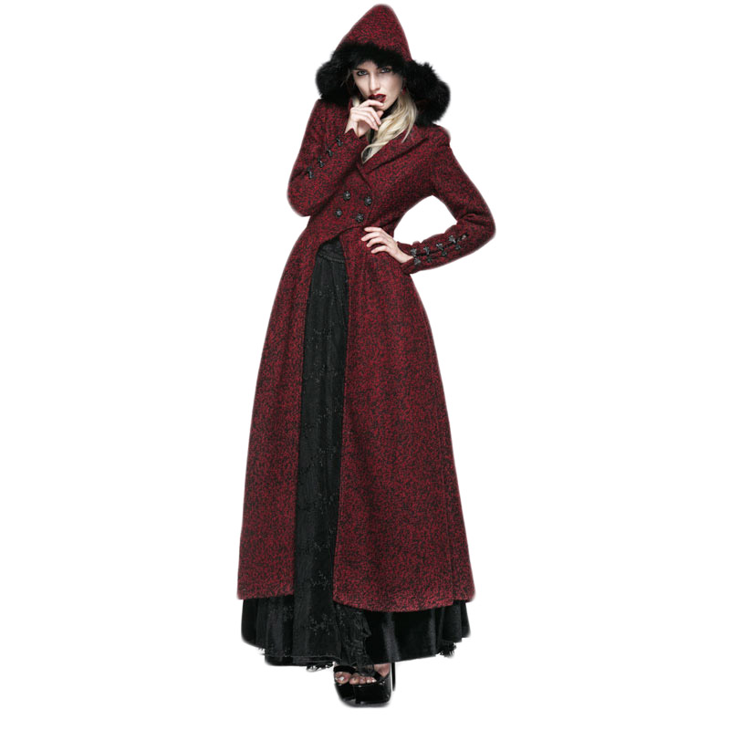 Punk Gothic Grained Woolen Long Coat With Hat Winter Windproof Elegant Female Coat Hooded Long Trenches