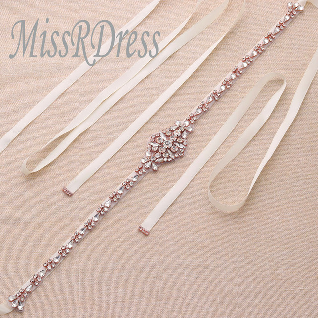 MissRDress Bridal Rose Gold Crystal Ribbons Rhinestones b0833d3a8ee2
