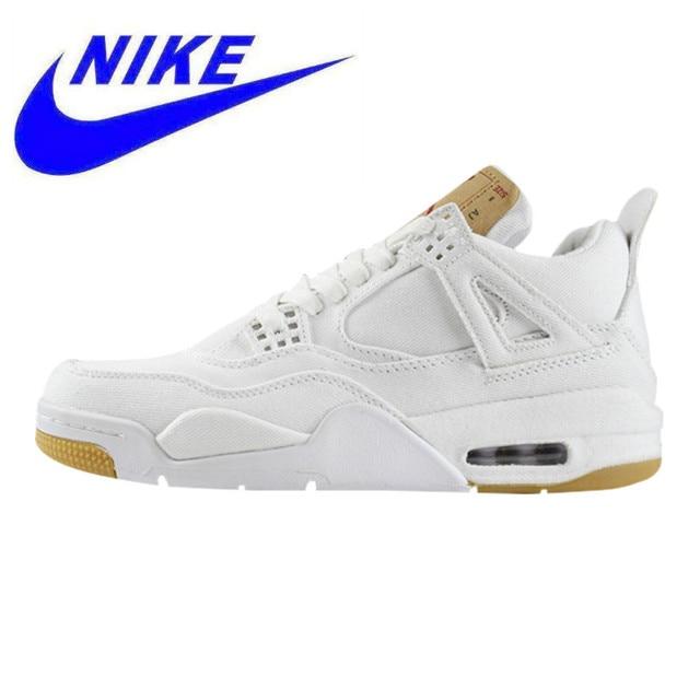 cd33d187747 Nike AIR JORDAN 4 LEVIS NRG Men's and Women's Running Shoes, Shock  Absorption Non-slip Wear-resistant, White AO2571 100