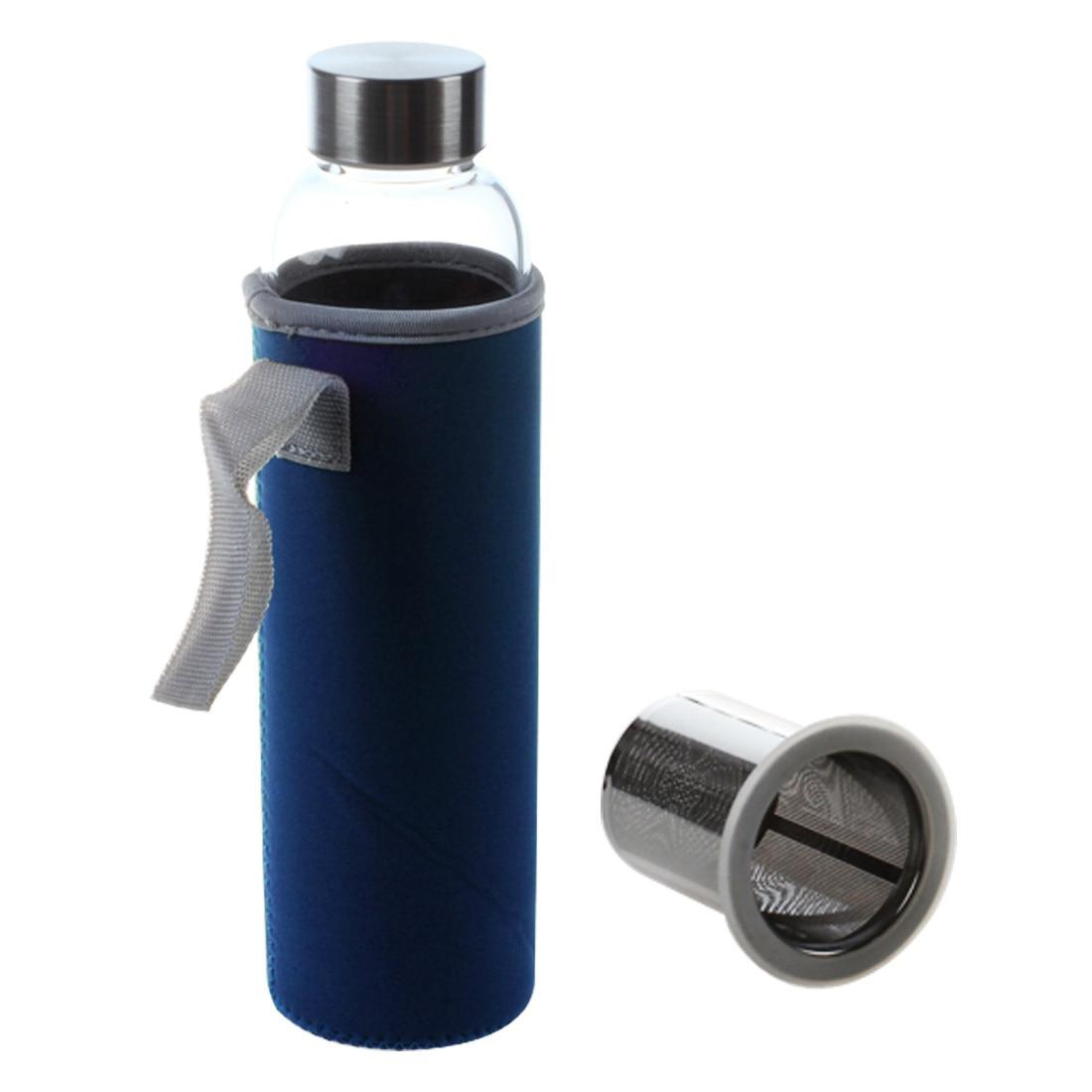 Glass Sport Water Bottle with Tea Filter Infuser Protective Bag 550ml Dark Blue