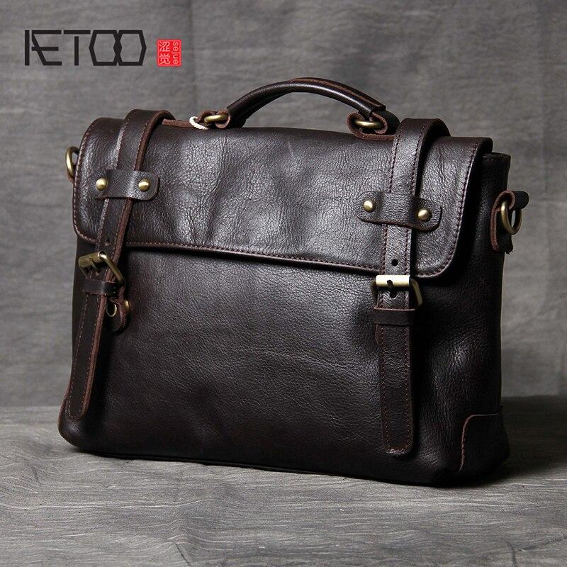 AETOO بسيطة الكلاسيكية رئيس جلد البقر حقيبة ضوء الذكور والإناث جلدية الكتف crossbody حقيبة-في حقائب كروسبودي من حقائب وأمتعة على  مجموعة 1