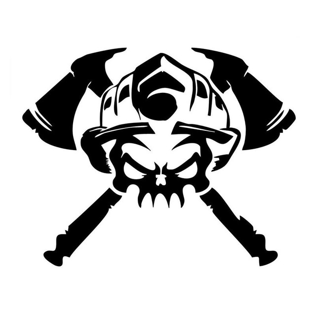Firefighter Skull Funny car StickersMotorcycle sticker car decals ...