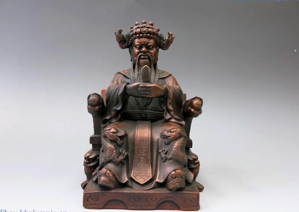 Sculpture en bronze de chine en cuivre rouge fin | Belle Statue du Dragon chanceux du roi, sculpture en bronze sculpté
