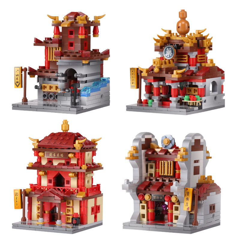 XingBao 01101 Building Series The China Inn Jewelry Shop Blacksmith Shop Drugstore Set 4 in 1 Building Blocks Bricks Toys Model time series model building on climate data in sylhet