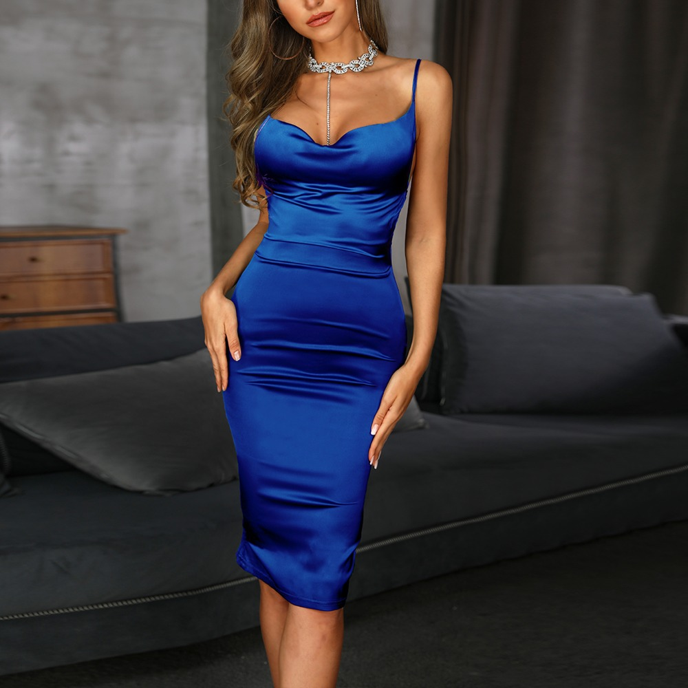 <font><b>Bodycon</b></font> Women Red <font><b>Blue</b></font> Long <font><b>Sexy</b></font> Off Shoulder Maxi Satin <font><b>Dress</b></font> Erotic Backless Nightdress Party Night Club <font><b>Dress</b></font> summer image
