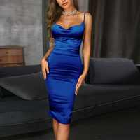 Bodycon Women Red Blue Long Sexy Off Shoulder Maxi Satin Dress Erotic Backless Nightdress Party Night Club Dress summer