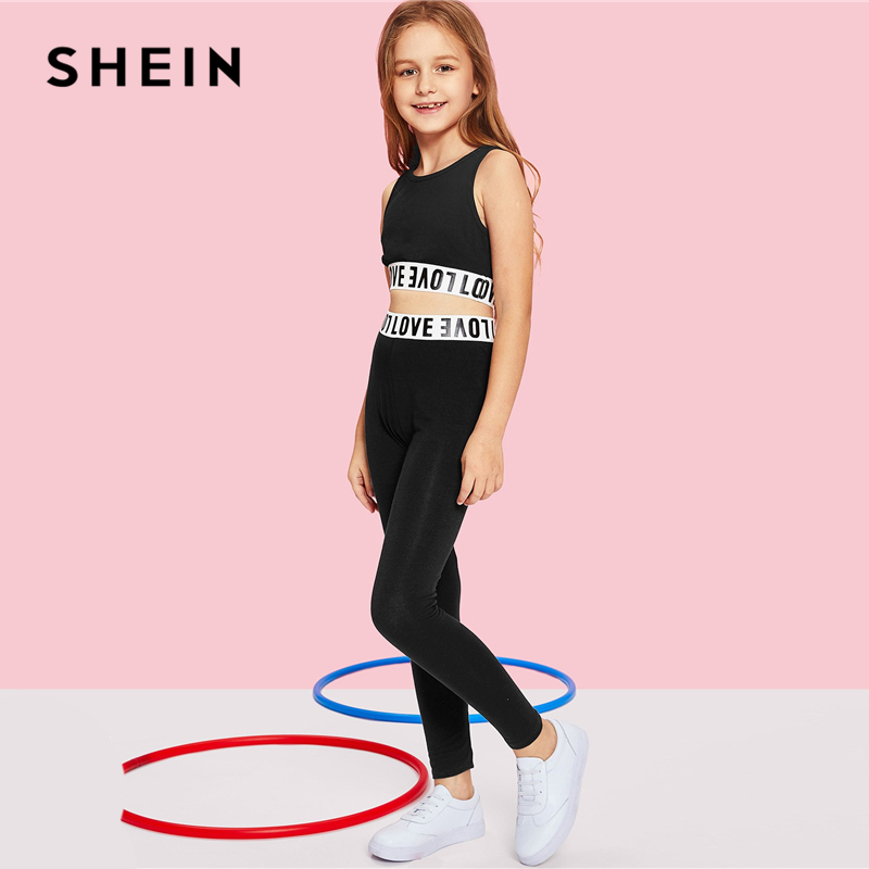 3f953dc90 SHEIN Black Letter Print Crop Top And Pants Girls Clothing Two Piece Set  2019 Active Wear Fashion Sleeveless Children Clothes-in Clothing Sets from  Mother ...