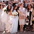 Boda Real delicado encaje rodilla longitud de tres cuartos de la manga Scoop escote madre vestido de novia para la boda con apliques
