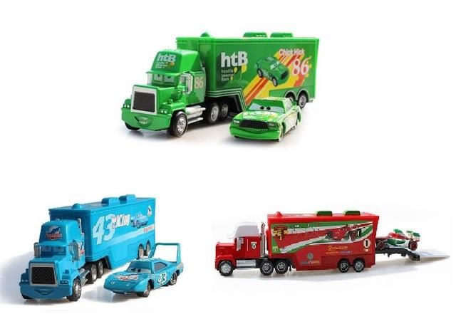 1:55 Free Shipping car model Pixar cars 2 # 95 43# 86#  Diecast Metal Mack truck Hauler +small cars toys Holiday gift