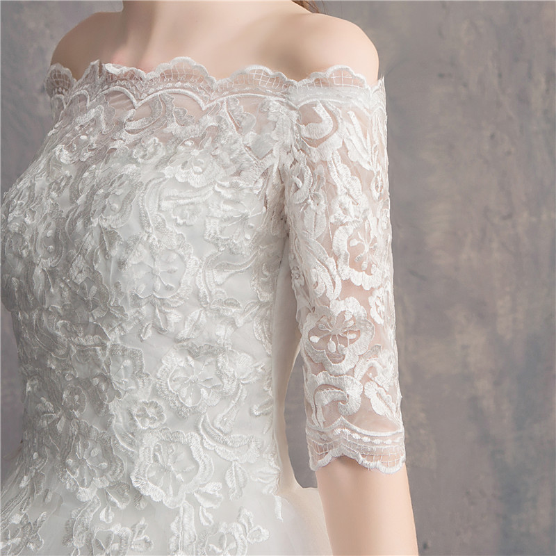 Image 3 - Do Dower Half Sleeve Vintage Wedding Dresses 2019 Off Should Embroidery Vestidos De Noivas Plus Size Bridal Ball Gowns-in Wedding Dresses from Weddings & Events