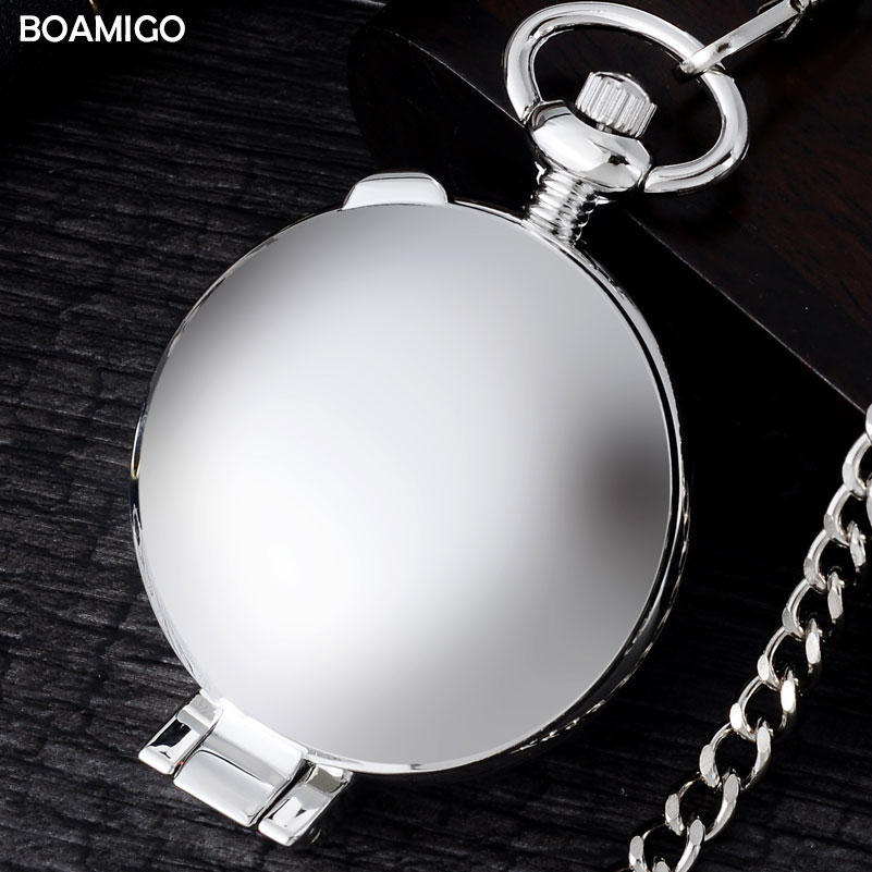 FOB men pocket watches antique mechanical watches BOAMIGO brand skeleton arbic number watches silver design clock reloj hombre automatic mechanical pocket watches vintage transparent skeleton open face design fob watch pocket chain male reloj de bolso