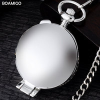 FOB Men Pocket Watches Antique Mechanical Watches BOAMIGO Brand Skeleton Arbic Number Watches Silver Design Clock