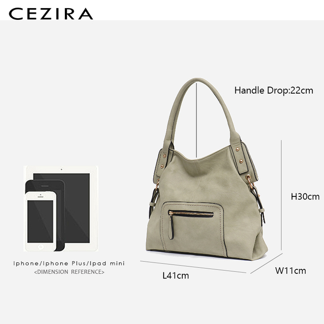 CEZIRA Brand Fashion Vegan Leather Women Shoulder Bags Female Casual Hobos Ladies Large PU Zip Pocket Tote Handbag Messenger Bag 5