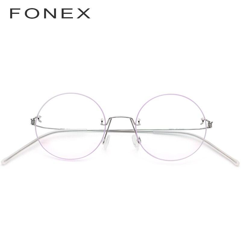 FONEX lunettes sans vis Prescription lunettes femmes 2019 sans monture ronde myopie optique coréen titane alliage lunettes cadre hommes