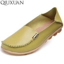 Alta Calidad Mujeres Del Cuero Genuino Zapatos Casuales 2017 Colores Caramelo de La Manera Cómodo Slip-on Zapatos Planos Guisantes Masaje Plus tamaño