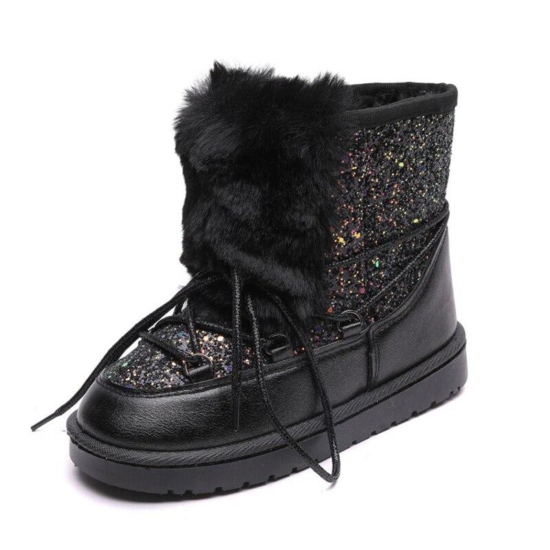 Ulknn Wholesale Children Snow Boots Winter Girls Boot Sequins Cotton Shoes Kid's Boat Plus Velvet Baby Warm Cotton Boots