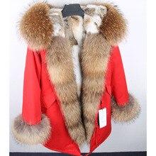 Maomaokong зима воротник из натурального меха енота меховой воротник натуральный мех пальто с мехом, красный, армейский зеленый, натуральный с кроличьим мехом зимнее пальто, парка для женщин