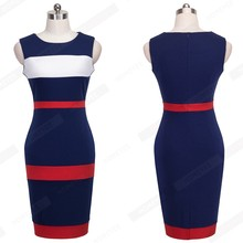 Vintage Patchwork Sleeveless Tank Women Dress Round Neck Colorblock Casual Sheath Bodycon Office Business Summer Dresses B275