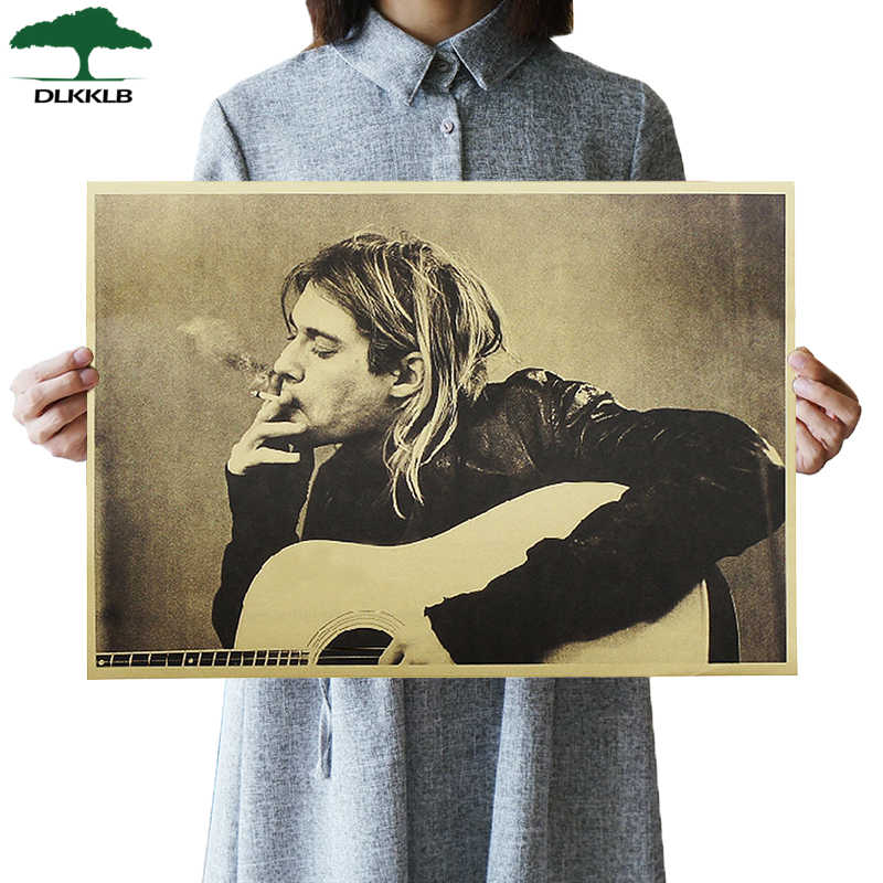 DLKKLB Kurt Cobain Nirvana Frontman Rock Poster Kraft Paper Cafe Bar Poster Wall Art Poster Wall Sticker Decorative Paintings