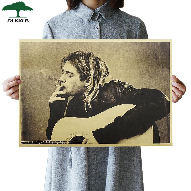 DLKKLB Kurt Cobain Nirvana Frontman Rock Poster Kraft Paper Cafe Bar Poster Wall Art Poster Wall Sticker Decorative Paintings