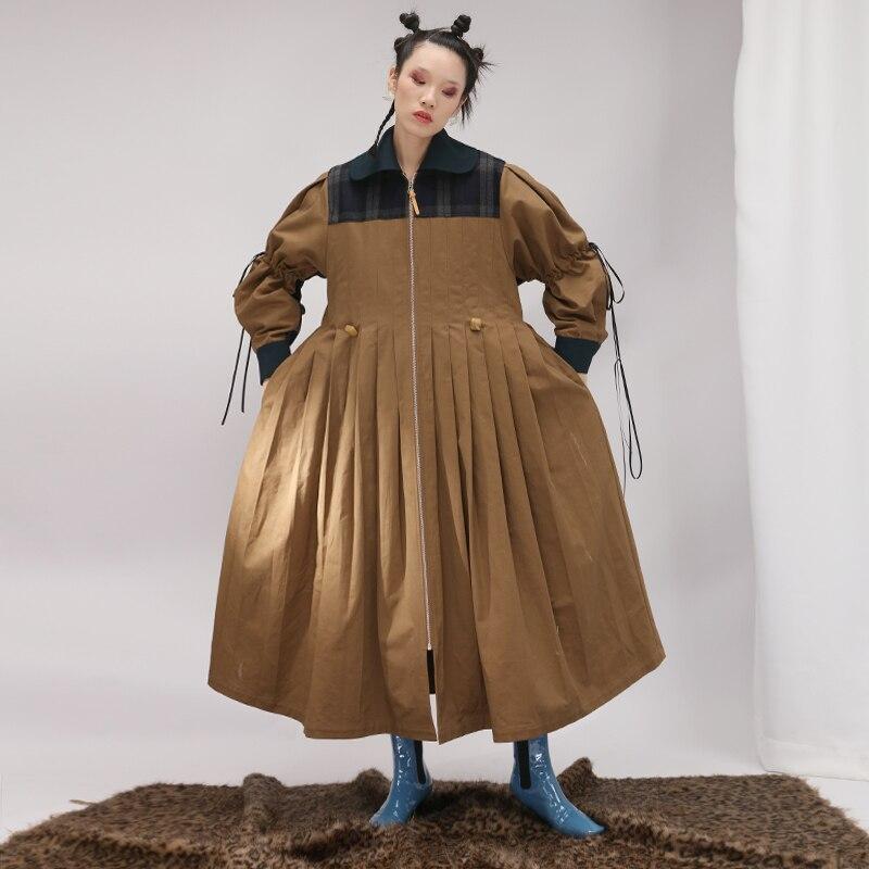 De Personnalité Camel Moyen Patchwork Long Conception Dames Mode Manteau Veste Unique Plissée Femmes r47wzqr