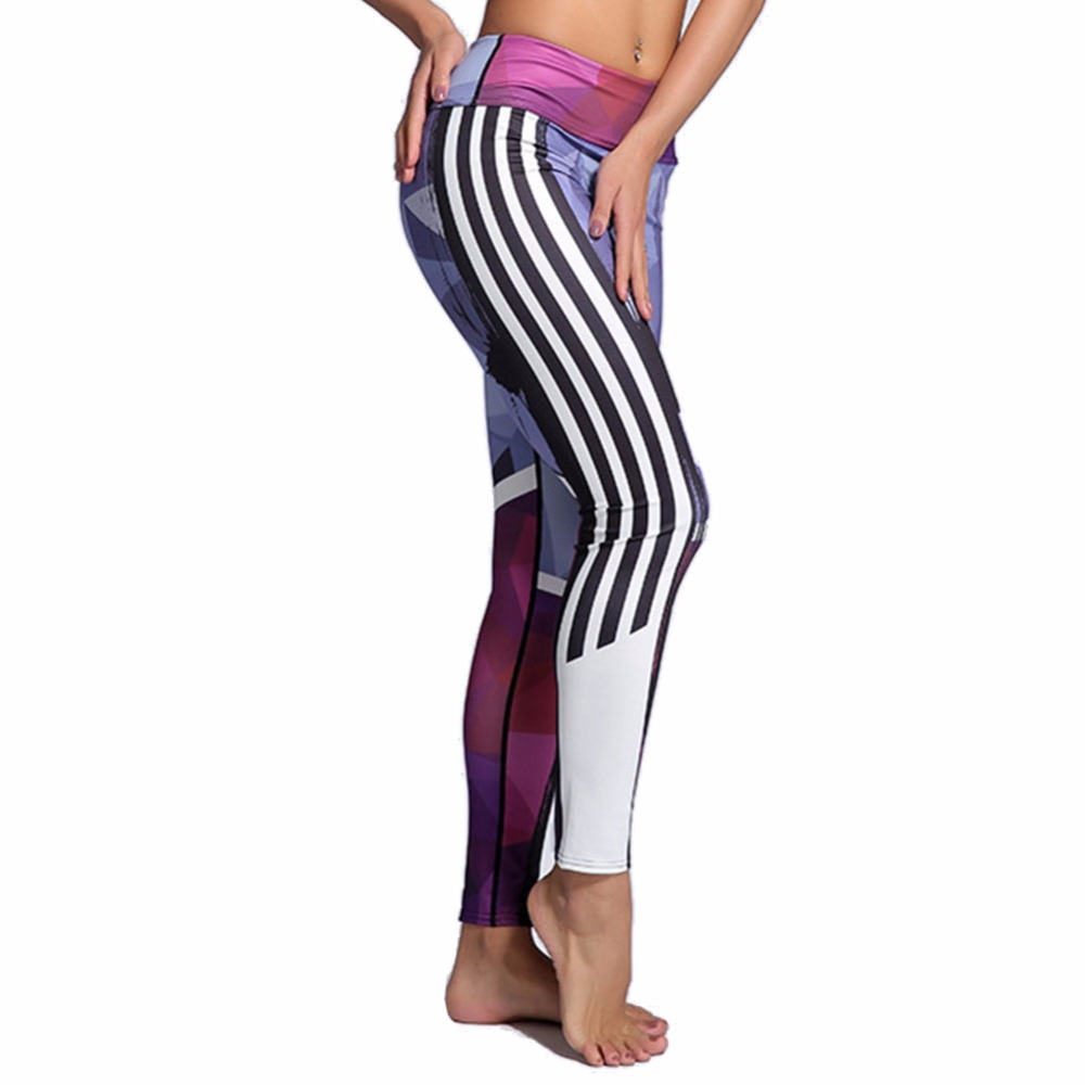 QIAOZHI Push up Leggings Side Striped Geometric Print Fashion High Waist Pink Elastic Fitness Legging Workout
