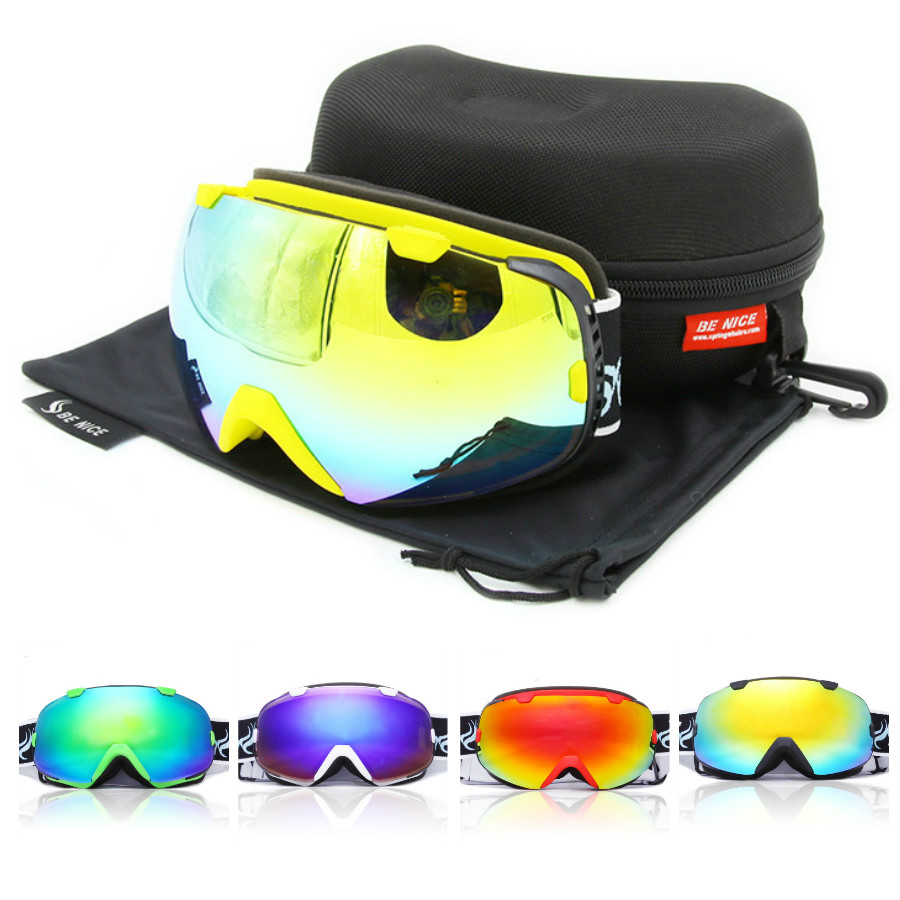 2017 New Brand Ski Goggles Double UV400 Anti-fog Ski Mask Glasses Skiing Men Women Snow Snowboard Goggles 6 Colors topeak outdoor sports cycling photochromic sun glasses bicycle sunglasses mtb nxt lenses glasses eyewear goggles 3 colors