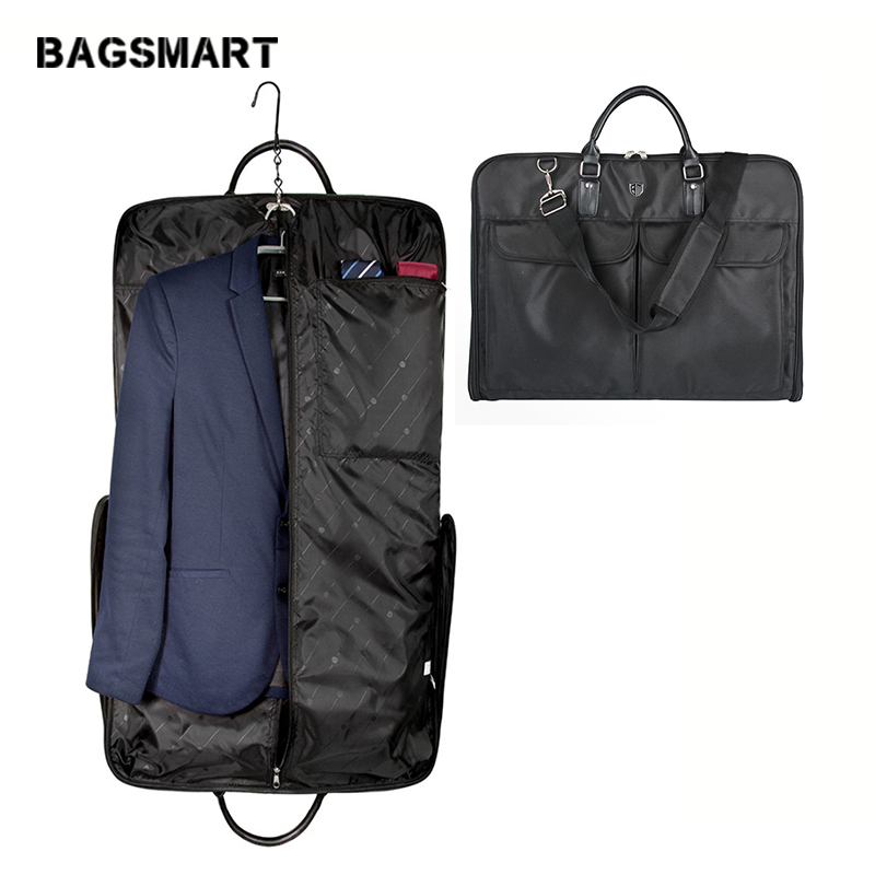 BAGSMART Waterproof Black Nylon Garment Bag Dengan Handle Suit Ringan Bag Perniagaan Lelaki Travel Bags For Suits
