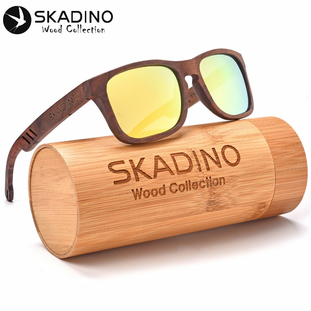 SKADINO UV400 Polarized Walnut Full Wood Sunglasses Fashion Sun Glasses for Women Men Yellow Gray Lens